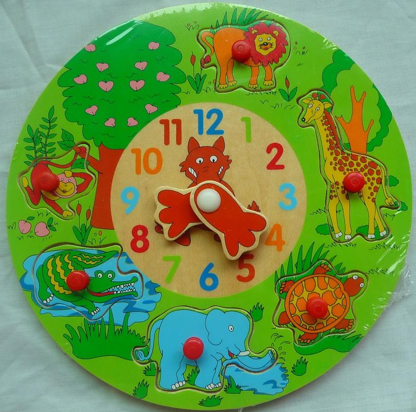 Детские деревянные часы-пазл Джунгли