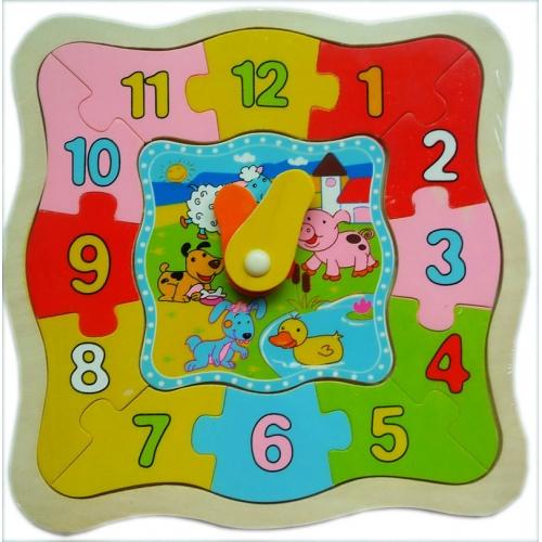 Детские деревянные часы пазлы 8629