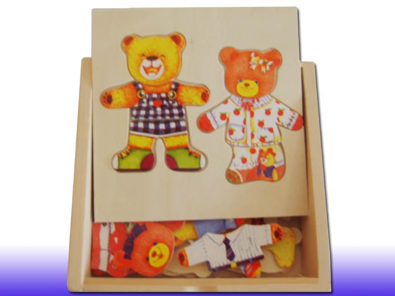 Детская деревянная рамка-вкладыш Два мишки